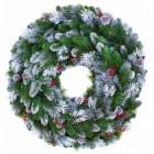 арт.Н60 Венок новогодний d=60см, заснеженные еловые ветки, шишки и ягоды.