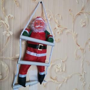 арт.Н101884 Игрушка-украшение Дед Мороз 35см на лестнице 50см