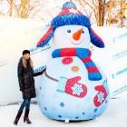 """арт.Н1217 Надувная фигура """"Снеговик в синей ушанке"""", высота 300см"""