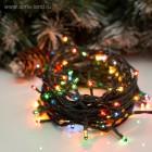 Гирлянда светодиодная, длина 14.0м, нить темная, 200LED диодов, с контроллером, цвет-мульти. Артикул Г41857