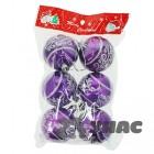 арт.Н101500 Набор (6шт.) елочных пластиковых шаров d=6см, цвет-фиолетовый, рисунок-вензеля.