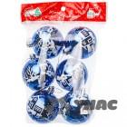 арт.Н135485 Набор (6шт.) елочных пластиковых шаров d=6см, цвет-синий, рисунок дом/дерево.