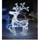 Олень 3D, из белого светодиодного дюралайта, размер 110*60*18. Г9569