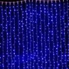 Светодиодный занавес Плей-Лайт, 2.0*2.0м, стыкуется, с мерцающими диодами, цвет-синий, прозрачный провод. Артикул Г1255